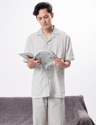 男式夏季睡衣套