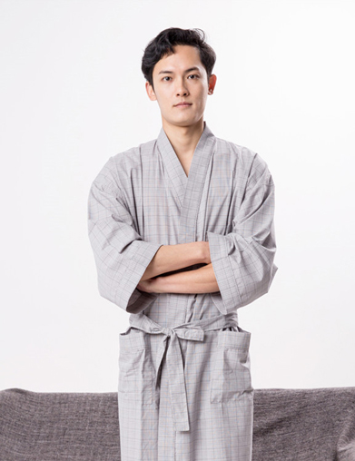 格子酒店浴袍