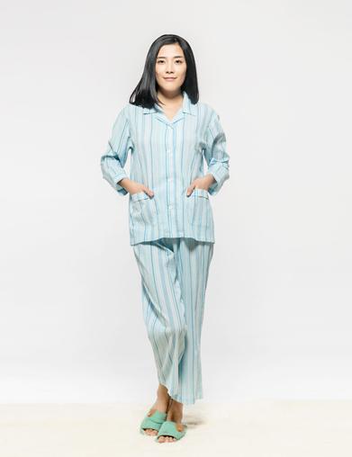 泡泡纱女式病人睡衣套
